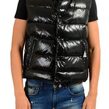 Moncler Men's TIB Black Down Full Zip Button Down Vest Sz 2 US M