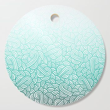 Gradient turquoise blue and white swirls doodles Cutting Board by savousepate