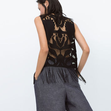 OPEN-WORK FRINGED TOP New