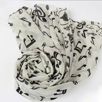 New Fashion Shawl Wrap Korean Style Women Scarf Music Note Printed Lady Chiffon Silk Scarf SV011276|27701 Apparel & Accessories = 1645873860