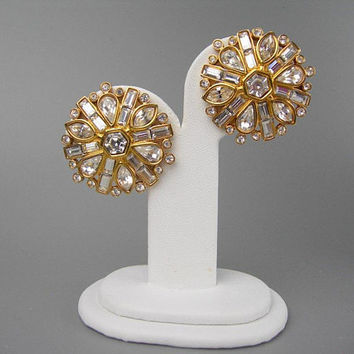 "Swarovski Crystals Clip-on Earrings, Clear Stones, Golden Setting, Vintage 1980s 1.5"" Round Earrings, Swan Mark, Bride Bridal Wedding, Gift"