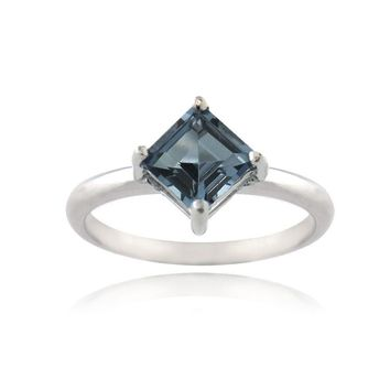 925 Silver Square London Blue Topaz Diamond Shape Ring