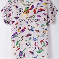 Cute Bird Chiffon Top - OASAP.com