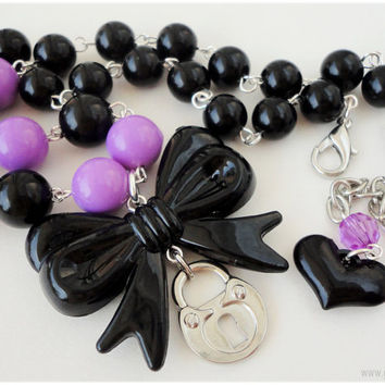 Black and Purple Beaded Padlock Necklace with Oversized Bow Charm, Silver Plated, Chunky - Gothic Lolita