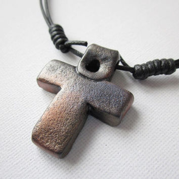 Cross necklace for men, mens cross pendant, polymer clay cross cord necklace, mens crucifix