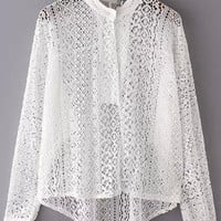 White Stand Collar Hollow Lace Blouse