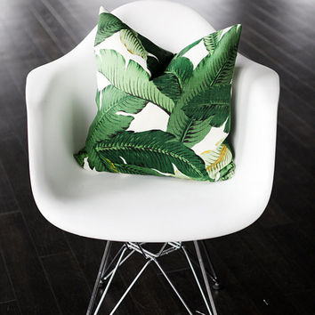 """Banana Leaf - Green Palms Decorative Pillow Cover- Indoor- Outdoor- Tropical- Aloe- 20x20"""""""