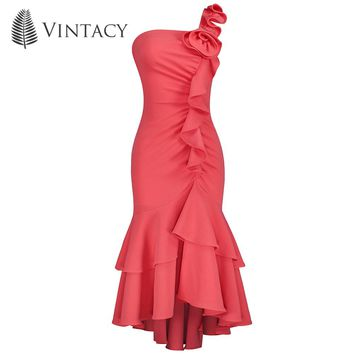 Women Appliques Party Dress Pink Asymmetrical Sexy Midi Mermaid Dress Summer Elegant Vintage One Shoulder Ruffle Bodycon Dress
