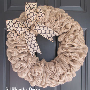 Burlap Wreath with Black Medallion Burlap Bow, Country, Spring Easter Fall Winter, Year Round, Fall, Porch Door Decor