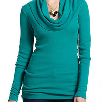 Jayne Waffled Cowlneck - Available in Dark Grey, Navy, Turquoise, and Wine, Sizes XS-L