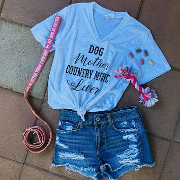 """Dog Mother Country Music Lover"" Women's V Neck Tee"