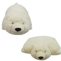 "SMALL POLAR BEAR PILLOW PET, ""PLUSH & PLUSH"" BRAND, 11"""