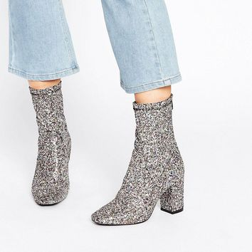 Boohoo Glitter Heeled Ankle Boot at asos.com