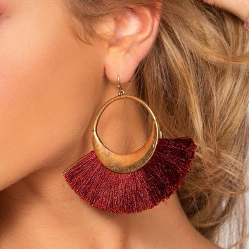 Layla Hoop Earrings - Burgundy