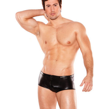 Zeus Wet Look Front Zipper Short Black O-s