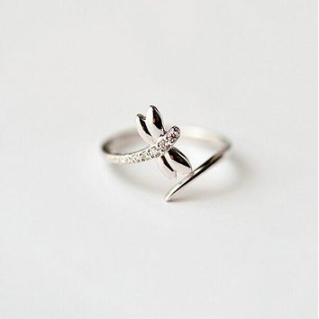 Dragonfly 925 Sterling Silver  Ring CZ Diamond Jewelry