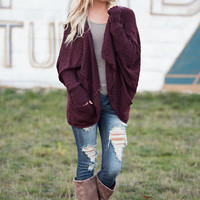 Call On Me Dolman Sleeve Knit Cardigan (Heathered Burgundy)