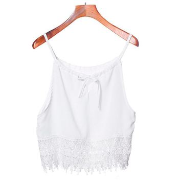 Lace Tops  Sleeveless Short T-Shirt