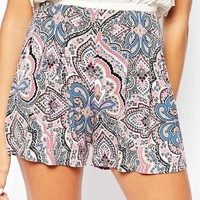 ASOS Pleated Culotte Shorts in Moroccan Print