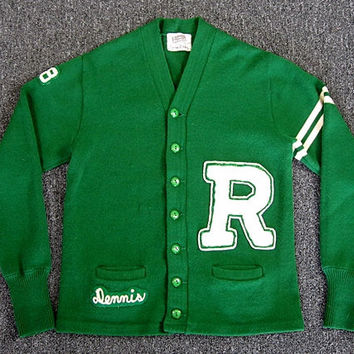 Vintage 60s Coleman Wool Letterman Sweater Rockabilly Collegiate High School Cardigan Sweater Kelly Green Preppy Retro Emo