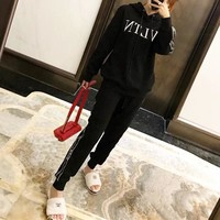 """Valentino"" Women Casual Fashion Letter Webbing Long Sleeve Hoodie Trousers Set Two-Piece Sportswear"