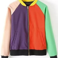 Color-block Zipper Edge Pockets Jacket