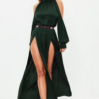Missguided - Green Split Front Maxi Dress