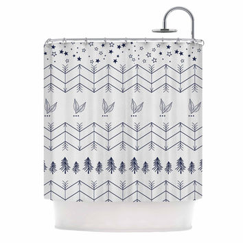 "Famenxt ""Tribal Arrows Jungle Stars"" Gray Pattern Shower Curtain"