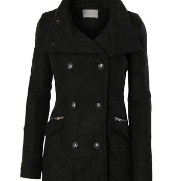 Long Black Pea Coats For Women