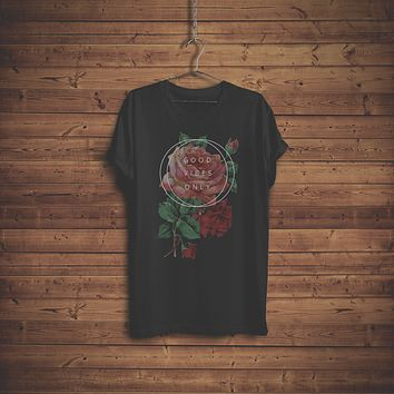 Good Vibes Only Roses Boho T-Shirt