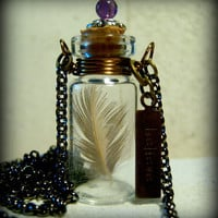 Glass Vial Necklace Glass Bottle Necklace Stamped Believe with Feather Antique Brass and copper - 30 inches