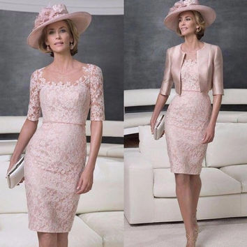 Pink Lace Knee Length Mom Dress Suits Jacket Half Sleeve Jewel Neck Custom Made Suit D765