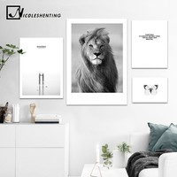 Animal Lion Black White Canvas Poster Nordic Style Sea Forest Landscape Wall Art Print Picture for Living