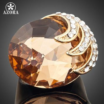 AZORA Gold Color Stellux Austrian Crystal Eagle With its Claws Clamping Big Zircon Ring TR0002