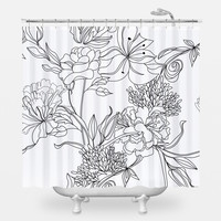 Sketch Floral Shower Curtain