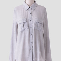 Overture Geometric Button-Up Blouse