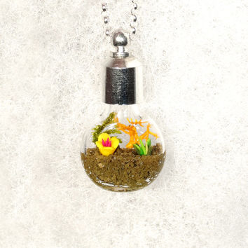 Holiday Jewelry, Nature Necklace, Garden Pendant Necklace, Flower Garden Necklace, Miniature Garden