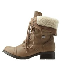 Light Taupe Shearling-Lined Combat Boots by Charlotte Russe