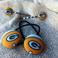 Wisconsin Football Fan Hair Accessories, Handcrafted with Green Bay Packers Fabric, Packers Ponytail, Packers Bobby Pins
