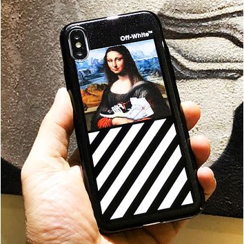 Off White New fashion people mona Lisa print couple protective cover phone case Black