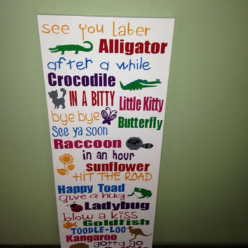 Wooden Playroom Goodbye Sign 10x22""