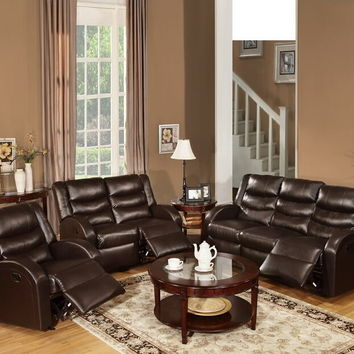 Poundex F6654-55 2 pc samantha collection espresso bonded leather upholstered sofa and love seat set with reclining ends