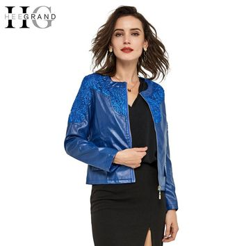 HEE GRAND 2017 Autumn Ladies Coat  Lace Slim Water Washed Faux Motorcycle Leather Jackets Women Jaqueta De Couro Feminina WWP038