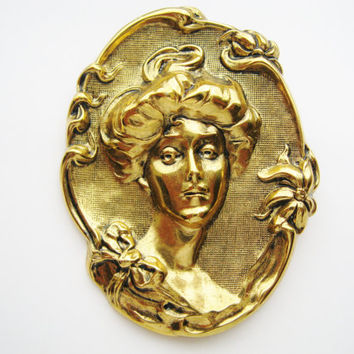 Art Nouveau Cameo Gibson Girl  Brooch Antique Gold Tone Embossed Victorian Revival Jewelry