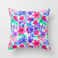 Fresh Watercolor Floral Pattern Throw Pillow by Tangerine-Tane
