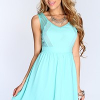 Mint Sheer Sleeveless Casual Dress