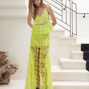 Alexis Jax Lace Top with Pleats in Lime