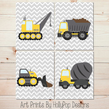 Yellow gray nursery decor Construction nursery art prints Baby boy wall decor Boy bedroom wall prints Dump truck art cement truck print 1395