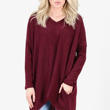Hi-Lo Loose Fit Pocket Sweater Tunic {Burgundy}