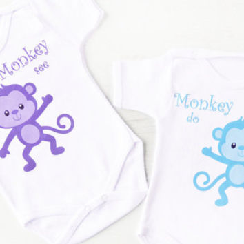 Monkey See Monkey Do Bodysuits. Twin Baby Bodysuits. Baby Shower Gift. Matching Twin Outfits. Twin Baby Boy and Girl Set